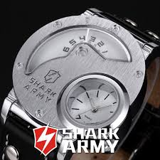 aliexpress com buy shark army stainless steel big face watch men aliexpress com buy shark army stainless steel big face watch men dual time leather strap sport quartz relogio masculino military watch saw054 from