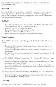 Call Center Resume Cool Professional Call Center Trainer Templates To Showcase Your Talent