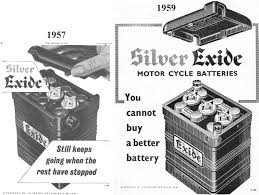 vincent motorcycle electrics 1957 and 1959 chloride batteries exide battery ads i have always wondered why the empty battery case supplied by restoration suppliers did not seem