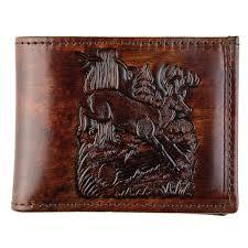 made in usa bi fold brown genuine leather wallet stamped deer design hubket