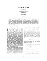 Journal Article Latex Templates Journal Article
