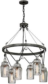 troy f5996 citizen contemporary graphite and polished nickel hanging chandelier loading zoom