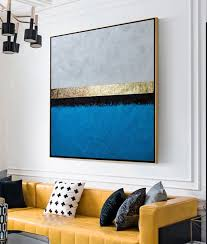 large abstract painting gold and blue