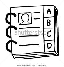 contact book cartoon vector and ilration black and white hand drawn sketch