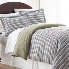 micro flannel awning stripe twin 3 piece comforter set