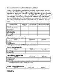 Wisc V Score Chart Wisc V Worksheets Teaching Resources Teachers Pay Teachers
