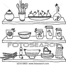 kitchen utensils drawing. Clipart - Kitchen Utensils On Shelves, Sketch Drawing. Fotosearch Search Clip Art, Drawing