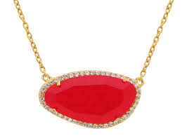 gold plated sterling silver red jade slice stone pendant necklace 16 extension