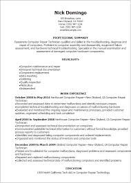 Gallery Of Technical Computer Technician Resume Computer Lab