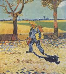a man wearing a straw hat carrying a canvas and paintbox walking to the