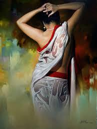 wet woman acrylic oil on canvas by amit bhar