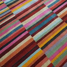 red multi striped rug