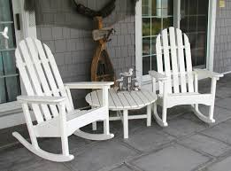 image of wood white rocking chair outdoor