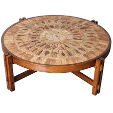 Roger Capron Round Coffee Table, Pressed Leaves In Ceramic Tile Top 1
