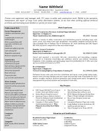 Resumes For Construction Crew Supervisor Resume Example Sample Construction Resumes With