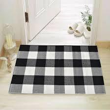 cotton bath runner buffalo check rug black and white plaid runner doormat carpet
