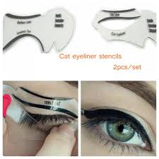 2pcs set new style cat eyeliner stencil kit smokey eyeshadow model for eyebrows template card makeup tool unfair weight