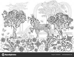 Mano Vettore Disegno Unicorno Zentangle Illustrazione Colore Nero