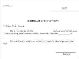 Example Of A Certificate Of Employment Example Of Certificate Of Employment Benvickers Co