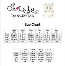 Size Chart Oh La La Dancewear