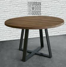 round wood dining table round dining table in reclaimed wood and steel legs in your choice