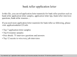 bank teller application letter In this file, you can ref application letter  materials for bank ...
