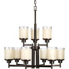 progress lighting alexa antique bronze nine light chandelier hover to zoom