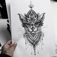 цветной универсальный эскиз тату коты и кошки 350