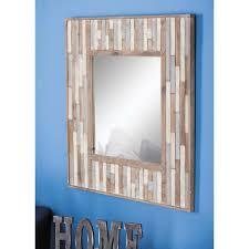 square slat framed wall mirror