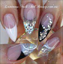 Black, White & Silver Nails... Sculptured Acrylic with Young Nails ...