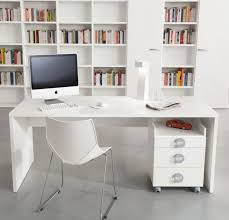 Modern Computer Desks Ideas With Freestanding White Sleeky Rectangle Stylish  Computer Desk With Underneath Base Chest Of Drawers