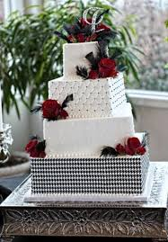4 Tier Square White Wedding Cake With Red Roses Slight Offsets And