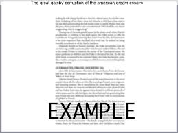 The Great Gatsby Corruption Of The American Dream Best of The Great Gatsby Corruption Of The American Dream Essays Research