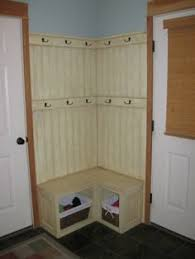 Corner Coat Rack With Bench Corner Fix for a small mudroom builtin bench with basket storage 8