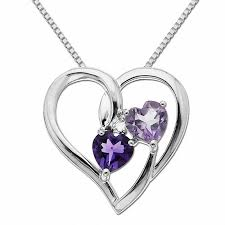5 0mm heart shaped purple amethyst and diamond accent heart pendant in sterling silver