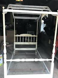 Vintage Twin Wood Canopy Bed Frame From Ethan Allen Maple Four ...