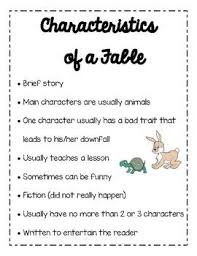 Characteristics Of A Fable Chart Chart Anchor Charts