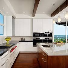 Example of a trendy galley dark wood floor open concept kitchen design in  Austin with a