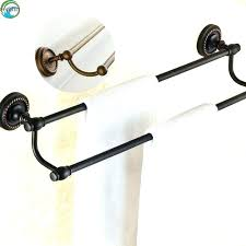 oil rubbed bronze hand towel holder antique black finish brass wall mounted double bar in paper