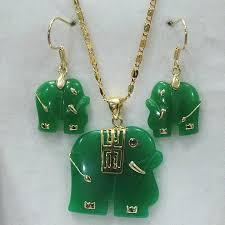 natural 14kgp green jade elephant pendant necklace earring set