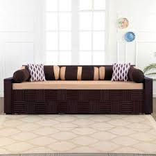shine fabric sofa bed in brown