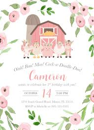 moo invitations farm birthday invitation girl farm birthday party invitation pink