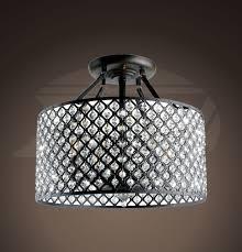 nicolette antique bronze 4 light round crystal flash mount chandelier 17 w x