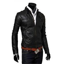 biker style mens slim fit black faux leather jacket