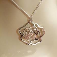 rose jewelry picture silver rose necklace valentine gift from vickys little