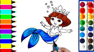 Dora Mermaid Coloring Pages | Art Colors For Kids | Drawing Fish ...