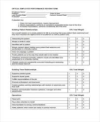 Performance Review Forms 20 Employee Review Form Example