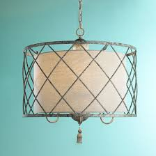 pendant lighting drum shade. Metal Lattice Drum With Linen Shade Pendant Light Lighting R