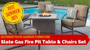 outdoor garden patio slate fire pit heater table chairs furniture set sunbrella cushion covers