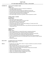 Resume Order Of Items Order Taker Resume Samples Velvet Jobs 1